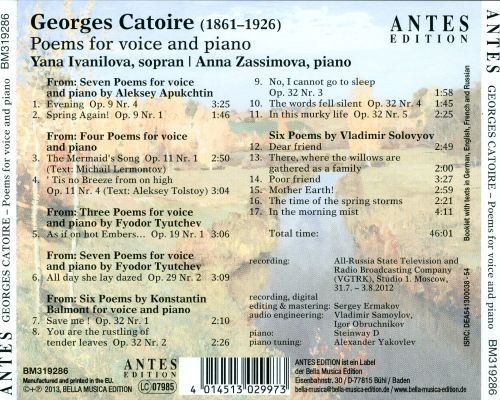 Georges Catoire: Poems for Voice and Piano