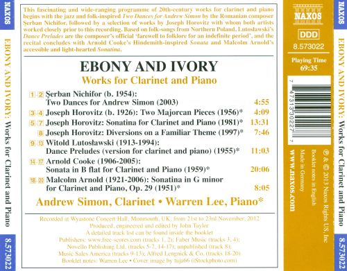 Ebony and Ivory: Works for Clarinet and Piano