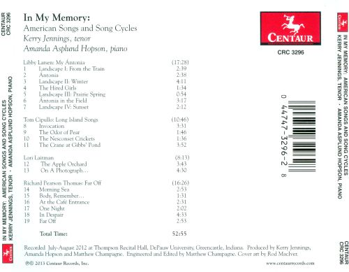 In My Memory: American Songs and Song Cycles