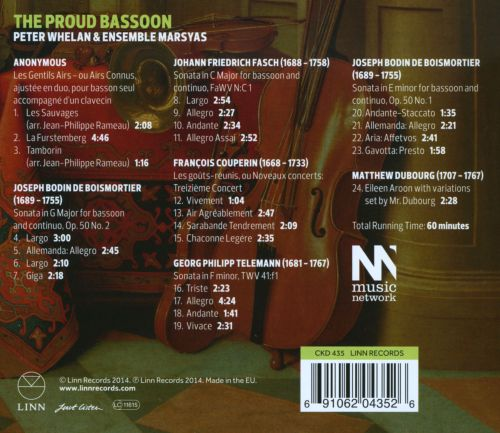 The Proud Bassoon: Virtuoso Works for Baroque Bassoon and Continuo