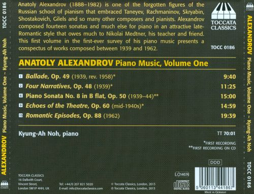 Anatoly Alexandrov: Piano Music, Vol. 1