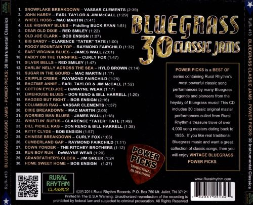 Bluegrass Classic Jams Power Picks: 30 Instrumental Favorites