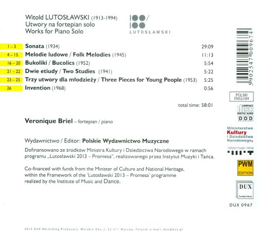 Witold Lutoslawski: Works for Piano Solo