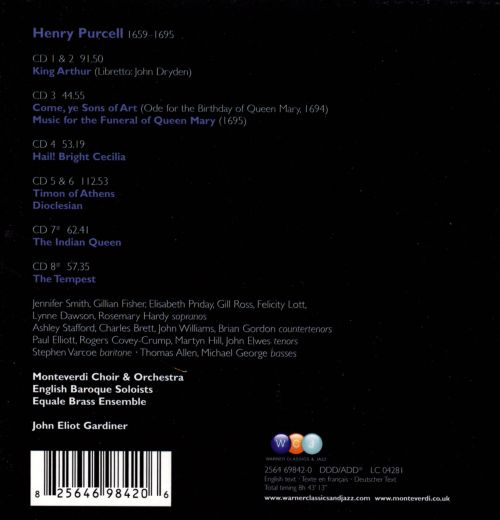 Purcell: King Arthur; Music for Queen Mary; Hail! Bright Cecilia; Etc.
