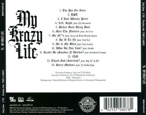 Yg – 'my krazy life' (deluxe album cover & track list) | hiphop-n-more.