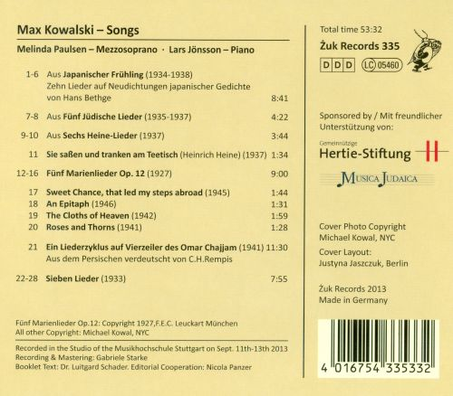 Max Kowalski: Songs