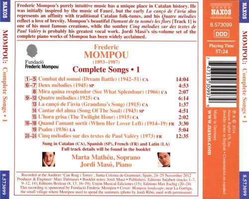 Frederic Mompou: Complete Songs, Vol. 1