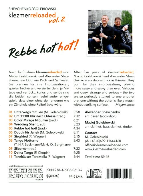 Klezmer Reloaded, Vol. 2: Rebbe Hot Hot!