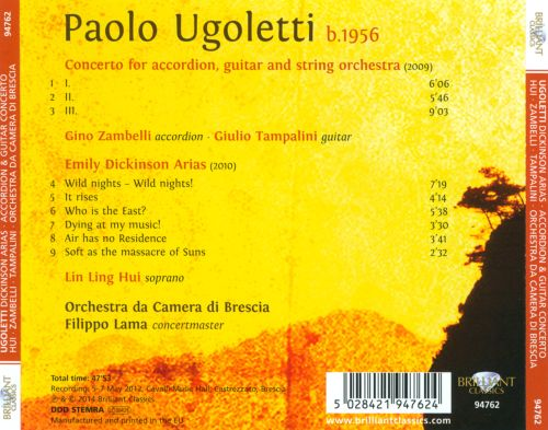 Paolo Ugoletti: Emily Dickinson Arias; Concerto for accordion, guitar and string orchestra