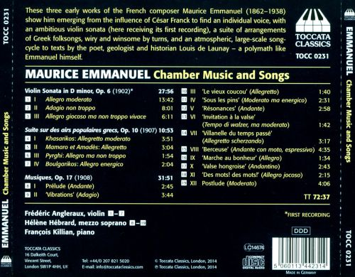Maurice Emmanuel: Chamber Music and Songs