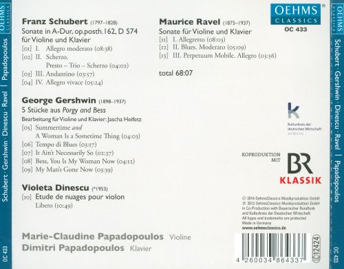 Works for Violin and Piano by Schubert, Gershwin, Dinescu, Ravel
