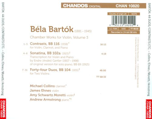 Bartók: Chamber Works for Violin, Vol. 3