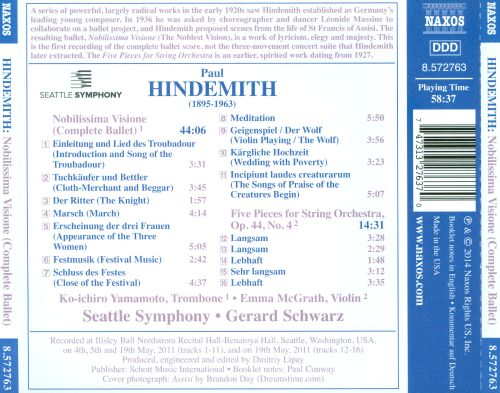 Hindemith: Nobilissima Visione; Five Pieces for String Orchestra