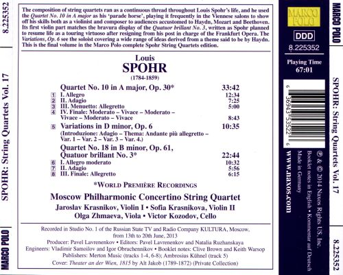 Louis Spohr: String Quartets (Complete), Vol. 17