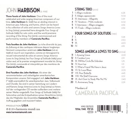 John Harbison: String Trio; Four Songs of Solitude; Songs America Loves to Sing