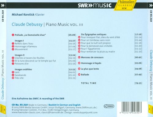 Claude Debussy: Piano Music, Vol. III
