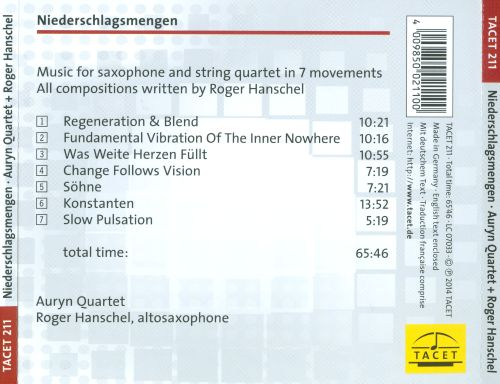 Niederschlagsmengen: Roger Hanschel - Music for Saxophone and String Quartet in 7 Movements