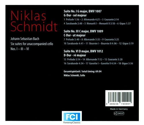 Bach: Six suites for unaccompanied cello Nos. 1, 3 & 6