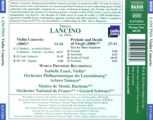 Thierry Lancino: Violin Concerto; Prelude and Death of Virgil