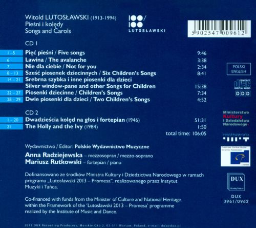 Witold Lutoslawski: Songs; Carols