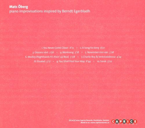 Piano Improvisations Inspired By Berndt Egerbladh