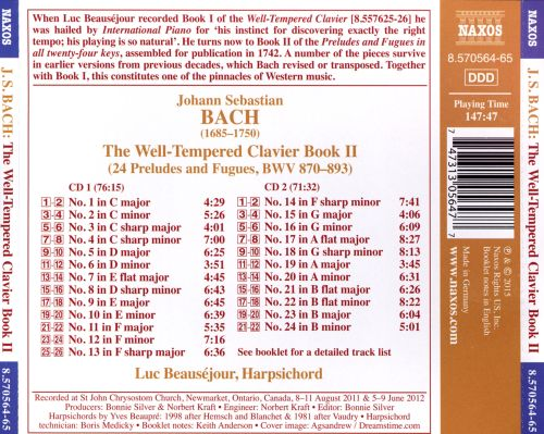 Bach: The Well-Tempered Clavier Book 2
