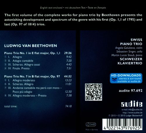Beethoven: Complete Works for Piano Trio, Vol. 1