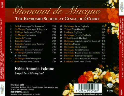Giovanni de Macque: The Keyboard School at Gesualdo's Court