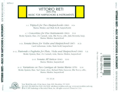 Vittorio Rieti: Music for Harpsichord & Instruments