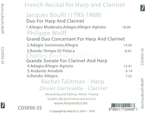 French Recital for Harp and Clarinet: Charles Nicolas Bochsa, Jacques Boufil, Philippe Wolff