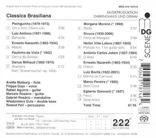 Classica Brasiliana: Works by Pixinguinha, Nazareth, Milhaud, Villa Lobos and others