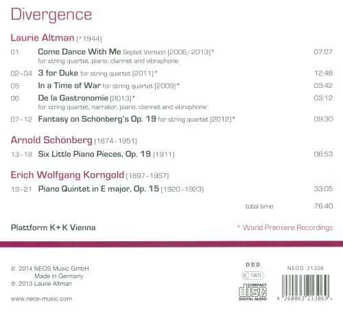Divergence: Music of Laurie Altman, Erich Korngold and Arnold Schönberg
