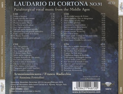 Laudario di Cortona No. 91: Paraliturgical vocal music from the Middle Ages