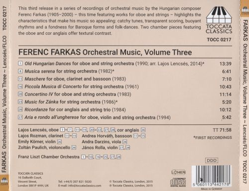 Ferenc Farkas: Music for Oboe and Strings
