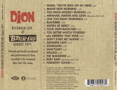Recorded Live at the Bitter End, August 1971