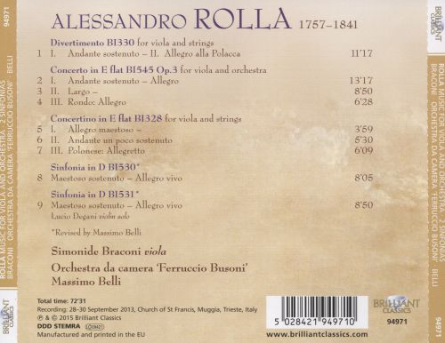 Alessandro Rolla: Music for Viola and Ensemble
