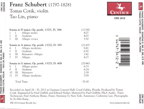 Franz Schubert: Sonata in D major, D. 384; Sonata in A minor, D. 385; Sonata in G minor, D. 408
