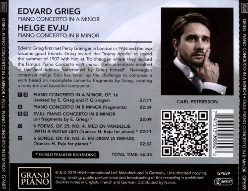 Grieg: Piano Concerto in A minor; Fragments of a Piano Concerto in B minor; Evju: Piano Concerto in B minor