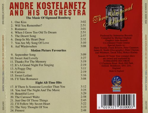 Three Original Albums: The Music Of Sigmund Romberg/Motion Picture Favourites/Eight All-Time Hits