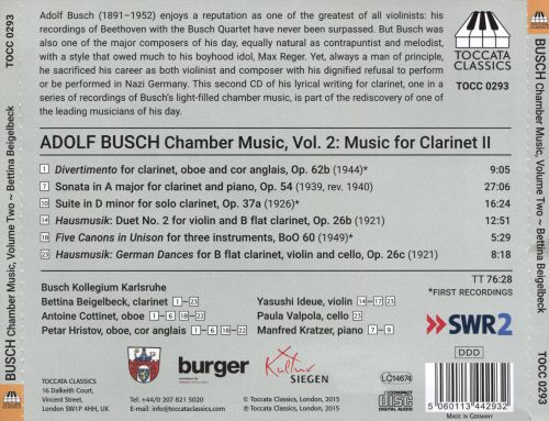 Adolf Busch: Chamber Music, Vol. 2 - Music for Clarinet 2