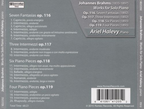 Johannes Brahms: Works for Solo Piano