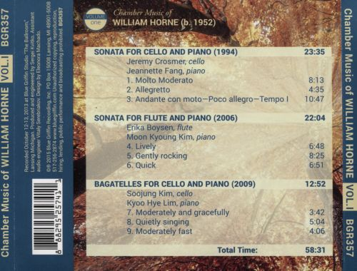 Chamber Music of Willliam Horne, Vol. 1