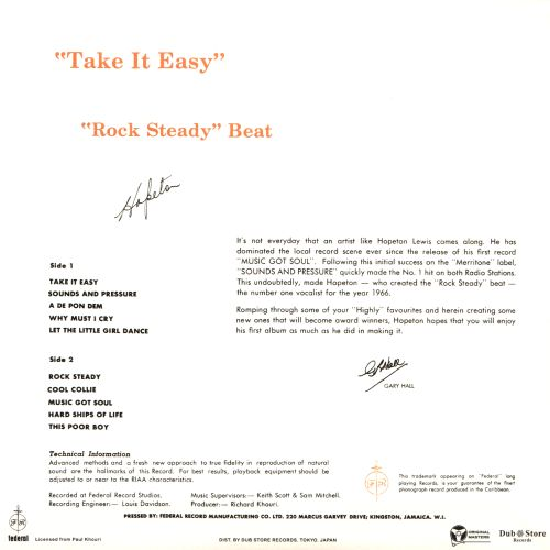 Take It Easy with the Rock Steady Beat