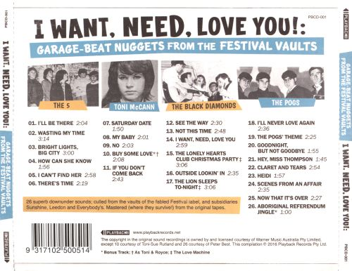 I Want, Need, Love You: Garage-Beat Nuggest From the Festival Vaults