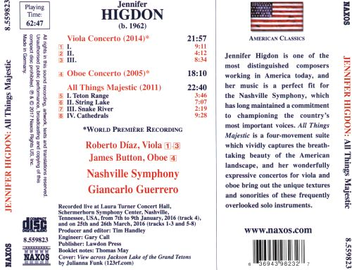 Jennifer Higdon: All Things Majestic; Viola Concerto; Oboe Concerto