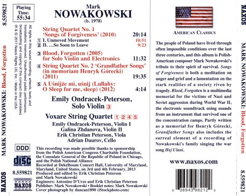 Mark Nowakowski: Blood, Forgotten; String Quartet Nos. 1