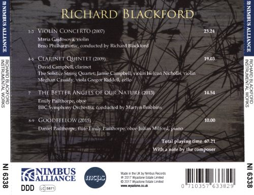 Richard Blackford: Violin Concerto; Clarinet Quintet; The Better Angels of Our Nature; Goodfellow
