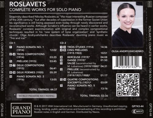 Roslavets: Complete Works for Solo Piano