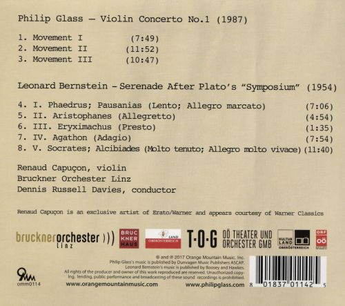 Philip Glass: Violin Concerto No. 1; Bernstein: Sereande After Plato's Symposium
