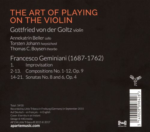 Geminiani: The Art of Playing on the Violin, Op. 9